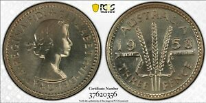 Australia 1958 Melbourne Proof Threepence - PCGS Graded PR67 - Only 1 Finer