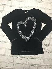 Girl's Next Top Long Sleeve Sequin Heart Detail Black Cotton 11 Years