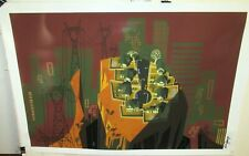 MAC GEORGE HAND SIGNED ABSTRACT CITYSCAPE HUGE LITHOGRAPH