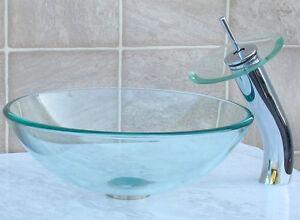 Bathroom Glass Vessel Vanity Sink + Chrome Faucet T12D4