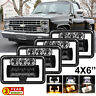 "Black 4""x6"" LED Headlights Hi/Low Beam DRL For Chevy C10 Pickup Truck 81-87 Ford"