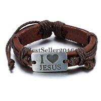 I Love Jesus Alloy Tag Leather Bracelet Wristband Christian Religious Scripture