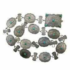 """OLD Small Native American Sterling Silver Turquoise Stamped Concho Link Belt 29"""""""