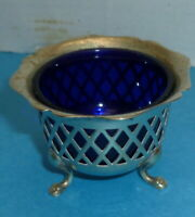Vintage Silver Plate Footed Mustard Pot with Cobalt Liner EPNS