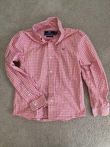 vineyard vines Boys button down dress shirt Size 7 (small) Coral (pink) / White