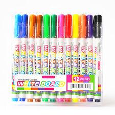 12 Colors Whiteboard Markers White Board Dry-Erase Marker Pens Set Fine Nib GUT