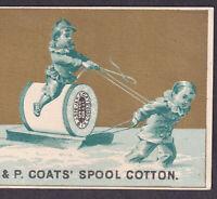 J & P Coats Sewing Thread RARE EARLY Gilt Sled Fantasy Victorian Trade Card Ad