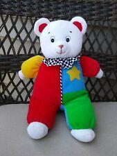 "Vintage Eden White Bear 12"" Clown Primary Color Star Musical"