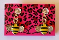 Betsey Johnson Crystal Rhinestone Enamel Bee Post Earrings