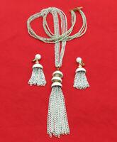 Vintage Monet Necklace Clip On Earrings Set White Enamel Tassel Pendant 999k