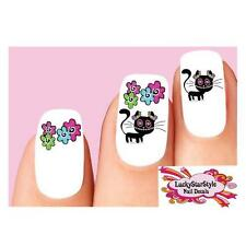 Waterslide Nail Decals Set of 20- Day of the Dead Sugar Skull Kitty Cat Flowers