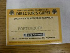 circa 2001 Ticket: Wolverhampton Wanderers v Portsmouth [Directors Guest - Golde