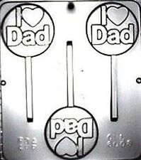 I LOVE DAD HEART CHOCOLATE LOLLIPOP MOULD  3 CAVITY