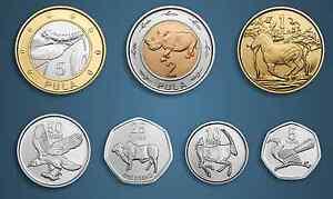 BOTSWANA 7 DIF UNC COINS SET 0.05 - 5 PULA BIMETAL 2013 YEAR RHINO