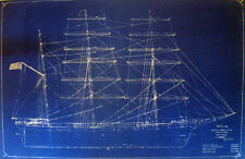 Antique Square Rigger Ship Kaiulani Print Hawaii 1899 Blueprint Plan 22x35  (303