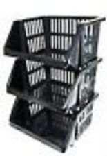 Plastic Stacking Stackers Storage Unit Baskets Rack Stand 35cm Kitchen Office
