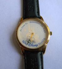 Vintage Disney World Gold tone 25 Anniversary Wristwatch Leather Strap 6a 18