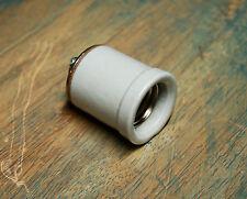 Large Lipped Porcelain Light Socket - Vintage Lamp Holder w Shoulder Industrial