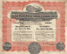 Canada 1913 The San Martin Minning Co  Ltd 1 share $5 Uncancelled coupons DECO