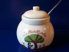 Pottery La Moutarde Mustard Pot Condiment Jar Slotted Lid & Spoon Country Farm