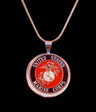 18k Sterling Silver Marine Corp Charm Necklace