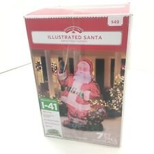 Gemmy Photorealistic Airblown-Inflatable Santa with Gift Bag 7 ft. Tall