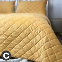 Luxury Heavy Velvet Ochre Yellow Mustard Quilted Bedspread Set Throw Double King