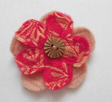 Zwei 2lagige Filzblumen Anstecknadeln von Niki in Rot/Rosa und Pink/Rosa- 6,5 cm
