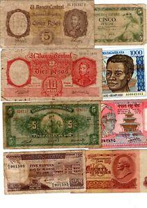 LOT 12 Billets DIFFÉRENTS MADAGASCAR RUSSIE ARGENTINE ESPAGNE PERU MAURITIUS ...