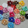 DIY 10-50PCS Satin Ribbon Flower with Crystal Bead Appliques~Craft/Trim