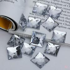 100X Square Faceted Clear Acrylic Rhinestones Beads Flat Back Sew / Glue on 15mm