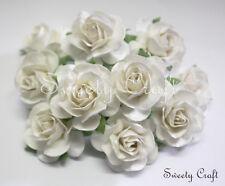 10 White mulberry Paper Roses Flower handmade size 3.5 cm.(35mm.) SW035