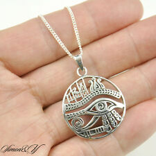 """Antique Sterling Silver Round Egypt Eye Of Horus Ra Udjat Pendant Necklace 18"""""""