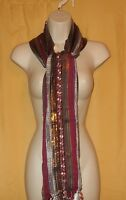 Big Buddha feather weight wine fringed cotton rayon neck scarf wrap O/S $48