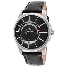 Lucien Piccard Men's Silver Case Black Strap & Dial Quartz Watch 40024-01