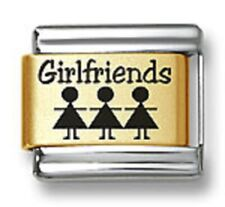 Laser Italian Charms Girlfriends Gold Plated 9 mm Stainless Steel Link Bracelets
