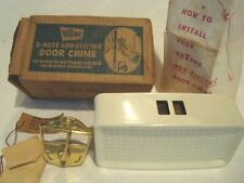 VINTAGE NU TONE MC 302  2 NOTE NON ELECTRIC DOOR CHIME  BRASS W/PAPERS