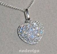 925 Sterling Silber Damen Halskette 45 cm & Anhänger Herz mit Zirkonia + Etui