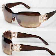 New Mens Womens Shield Wrap Around Sunglasses Fashion Designer Shades Rimless WB