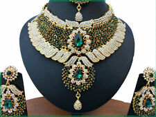 INDIAN JEWELLERY SET KUNDAN STYLE GOLD PLATED GREEN CLEAR STONES NEW AQ-65