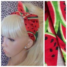 Fruta Melón Rojo Verde Sandía Impresión de Algodón BENDY WIRE Cabello Diadema 50s Retro