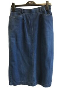 Vintage 80s Designer Midi Denim Pencil Skirt Size 10