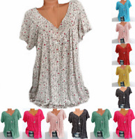 Womens tops Summer Floral Loose Short Sleeve Plus Size Tee Blouse V Neck