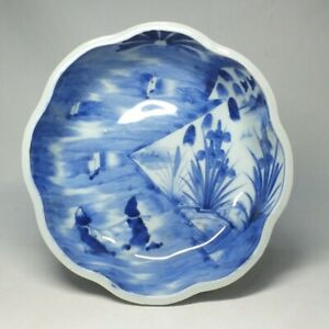 D1210: Real Japanese biggish bowl of OLD IMARI blue-and-white porcelain ware 2
