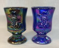 Boyd Art Glass Hopalong Cassidy Toothpick Holders Cobalt And Amethyst Carnival
