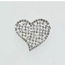 Large Silver Tone Heart Gem Encrusted Rhinestone Heart Brooch Pin Chunky Flashy