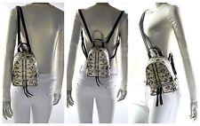 Michael Kors Rhea Zip Mini Snake Embossed Leather Backpack Natural Black