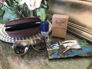 MAUI JIM MJ-513-16 MAKA Shield Bronze Lenses Gold Frame Sunglasses. JAPAN