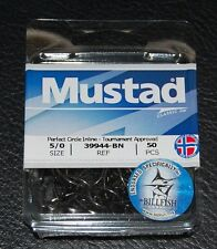 50 Mustad 39944BN-50 Classic In-Line Demon Perfect Circle Hooks Size 5/0