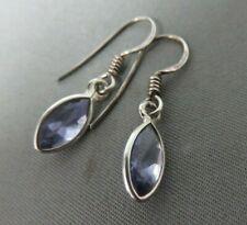 Solid Silver Iolite Drop Earrings.  Ref: xed